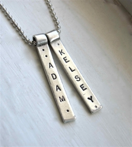 Personalized Silver Bar Hand Stamped Boutique Necklace