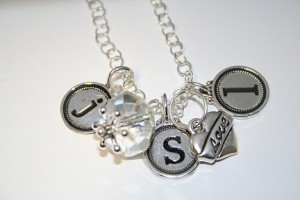 Custom internchangeable nametag initial necklace