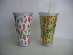 Personalized Monogrammed Tumbler Cup with Straw