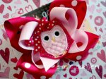 Pink Red Owl Valentine's Boutique Bow