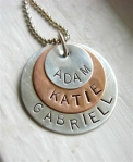 Personalized Name Family Hand Stamped Boutique Necklace