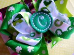 St. Patrick's Day Girl's Boutique Monogrammed Initial Hairbow