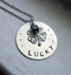 Lucky St. Patrick's Day Hand Stamped Neckacle
