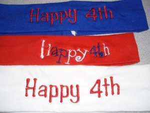 Embroidered 4th of July Girl's Headbands