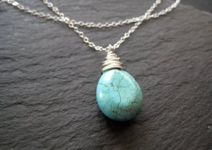 Turquoise Pendant Layered Silver Necklace