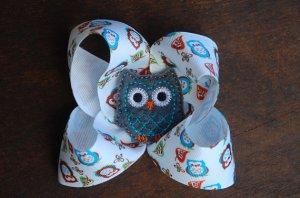 Grey Felt Owl Ribbon Bow