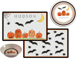 Personalized Halloween Plate Bowl Tablemat Set