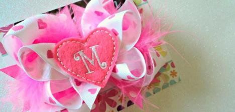 Valentines Day Girls Bow