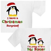 Pregnancy Announcement Kids Penguin Holiday Shirt