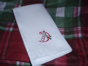 Personalized Holiday Napkins Hostess Gift
