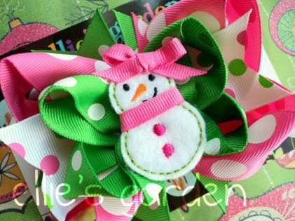 Holiday Winter Snowman Girl's Bow