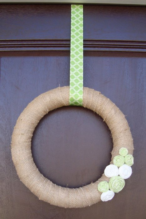 Spring Burlap Wreath Rolled Fabric Flowers