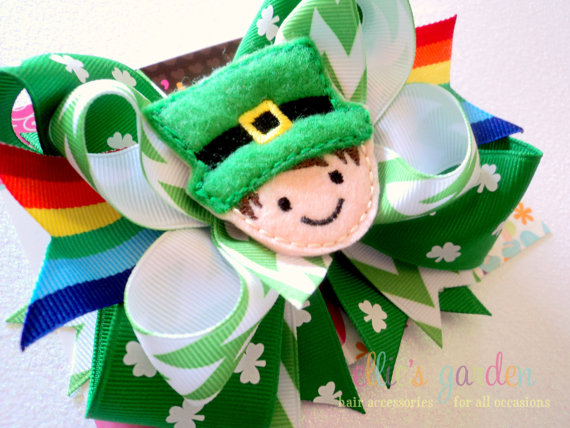 St Patricks Day Leprechaun Shamrock Rainbow Bow