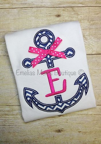 Personalized Girls Initial Anchor Shirt