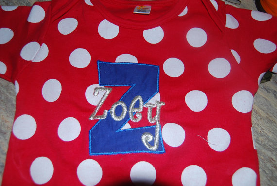red white polka dot personalized onesie