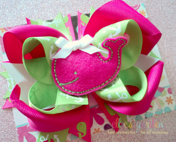 embroidered whale girls boutique bow