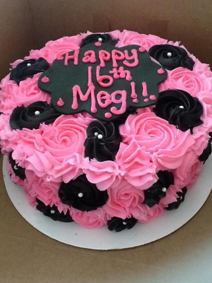 rose, cake, personalized, baking, cookies, pink, black, birthday, party, anniversary, shower