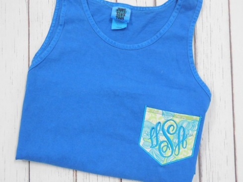 monogram, tank top, lily pulitzer, neon, summer, pocket