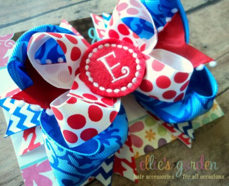 red, blue, white, 4th of July, bow, boutique bow, girls, initial, personalized, hair bow