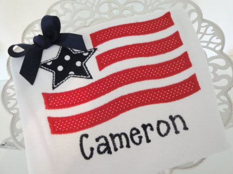 4th of July, flag, red, white, blue, personalized, bow