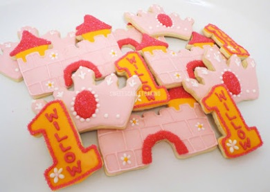 birthday, cookies, personalized, party, castle, princess