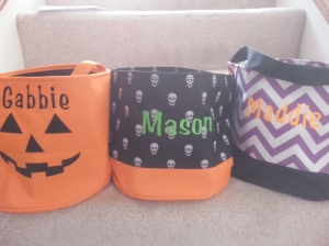 Personalized Embroidered Halloween Baskets