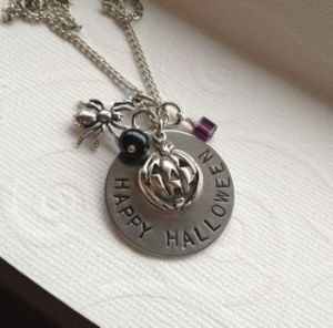 Happy Halloween Hand Stamped Necklace