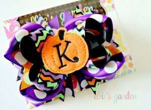 Personalized Embroidered Halloween Bow