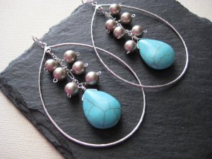 Silver Pearls Turquoise Teardrop Earrings