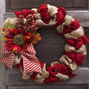 Burlap Wreath with Floral Chevron Ribbon