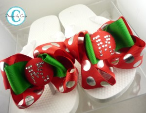 Holiday Christmas Bow Personalized Flip Flops