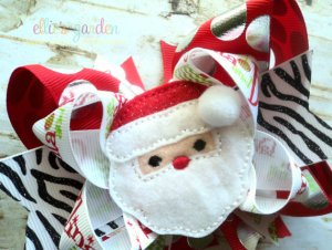 Embroidered Santa Holiday Boutique Girl's Bow