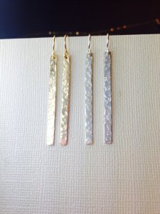 Hammered Gold Silver Dangle Earrings