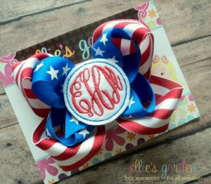 Patriotic Embroidered USA bow