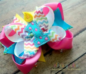 Personalized Custom Embroidered Girl's Birthday Bow