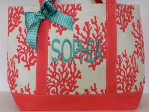 personalized monogrammed beach bag