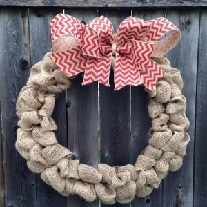 Burlap Wreath with Chevron Ribbon