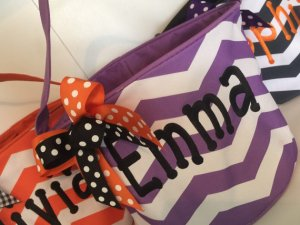personalized chevron halloween buckets