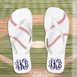 Monogrammed Baseball Flip Flops