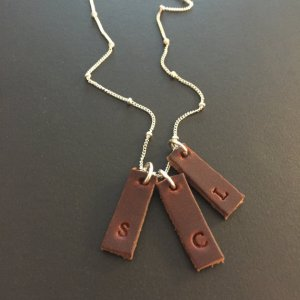 Personalized Leather Charm Necklace
