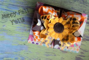 Fall Boutique Sunflower Girl's Bow