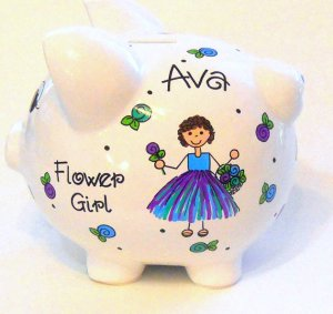 Personalized Flower Girl Piggy Bank Wedding Gift