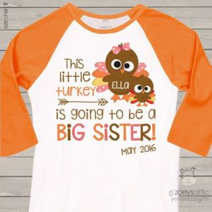 Turkey Thanksgiving Big Sister Pregnancy Announcement Shirt